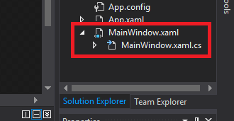 MainWindowXAML Solution Explorer