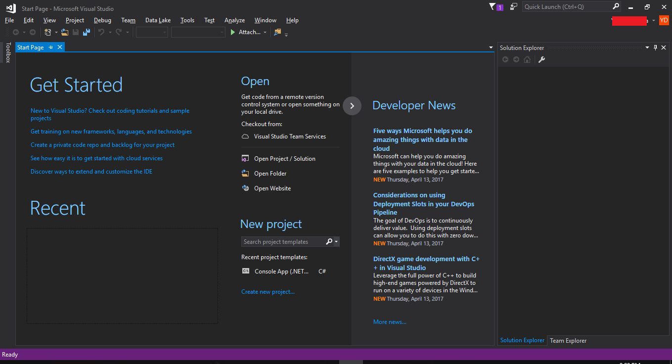 Visual Studio Get Started
