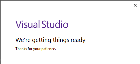 Visual Studio getting things ready