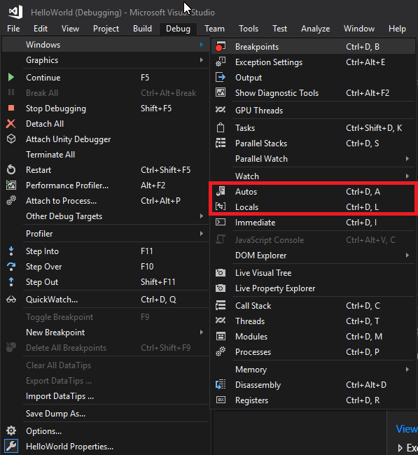 Autos and Locals in Visual Studio