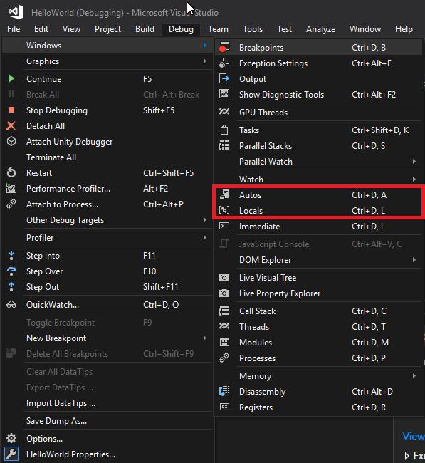 Autos and Locals in Visual Studio