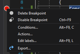 Breakpoint context menu