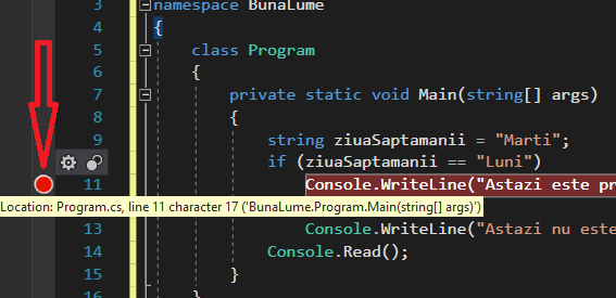 Setarea unui breakpoint in Visual Studio