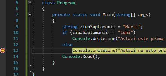 Atingerea unui breakpoint in Visual Studio