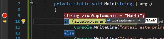 Editarea in timp real a valorilor variabilelor, in mod de depanare
