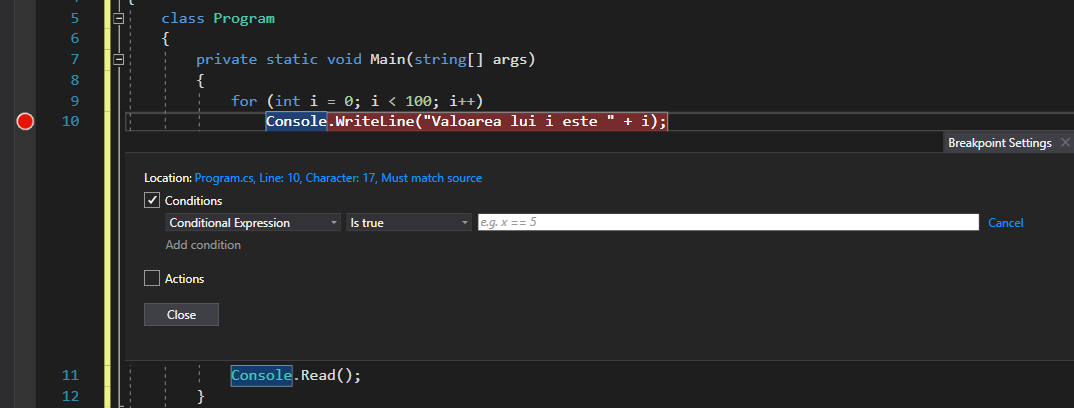 Visual Studio Breakpoint Conditional