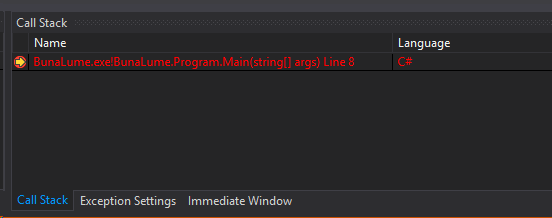 Visual Studio Call Stack