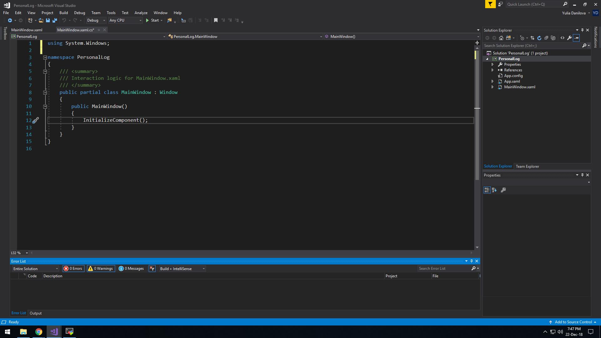 C# logic of XAML window