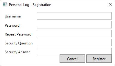 XAML Registration window