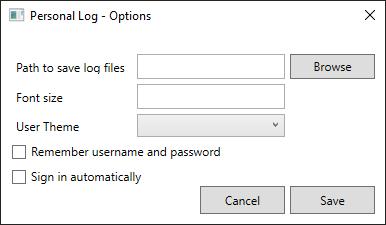 XAML Options window