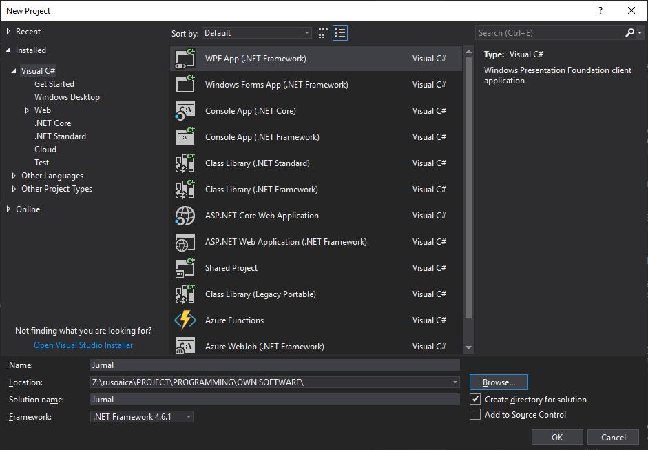 Crearea unui proiect WPF C#