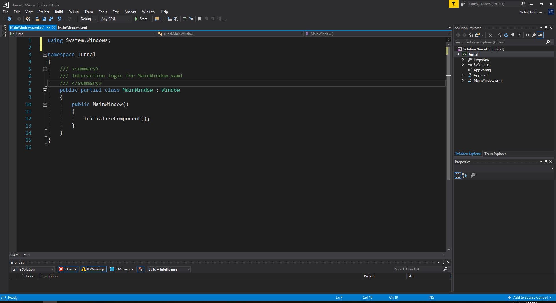 Logica C# a unei ferestre XAML