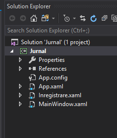 Visual Studio - fișier nou