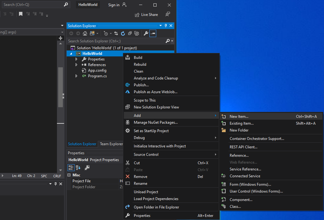 Visual Studio - adding a new project item