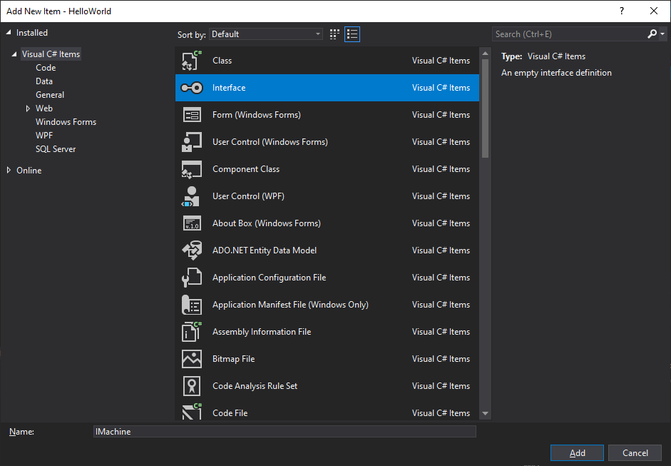 Addin a new interface in Visual Studio