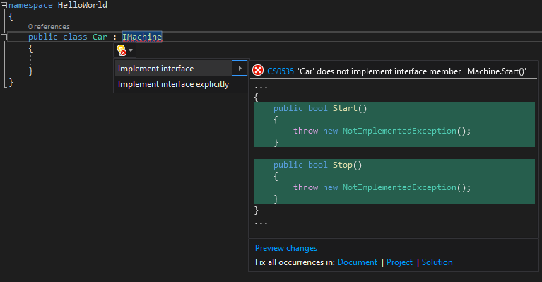 Automatically implementing an interface in Visual Studio