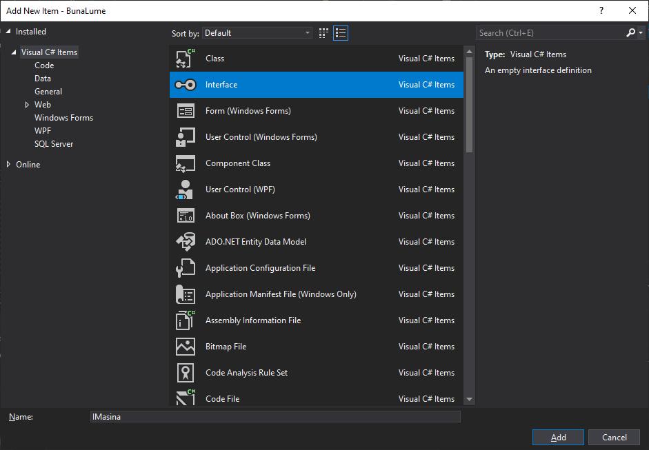 Adăugarea unei interfețe noi în Visual Studio
