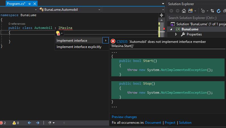 Implementarea automatizată a unei interfețe în Visual Studio