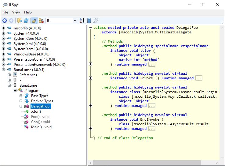 MSIL (Microsoft Intermediary Language) generat pentru un delegat