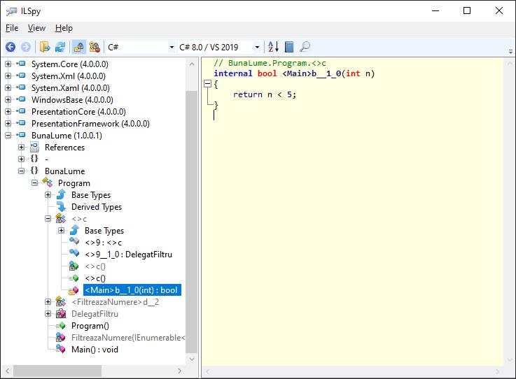 Metodă generată de MSIL pentru expresie lambda, în C#