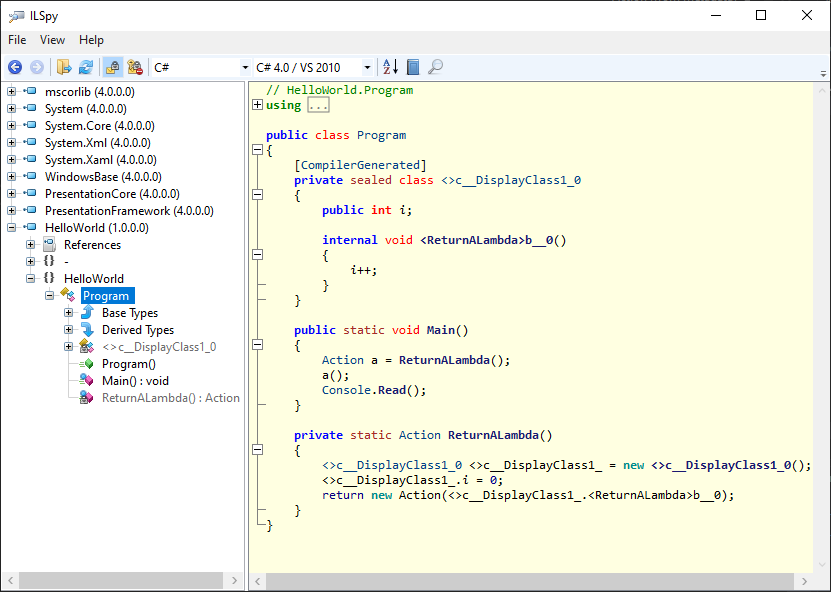 MSIL for closures in C#