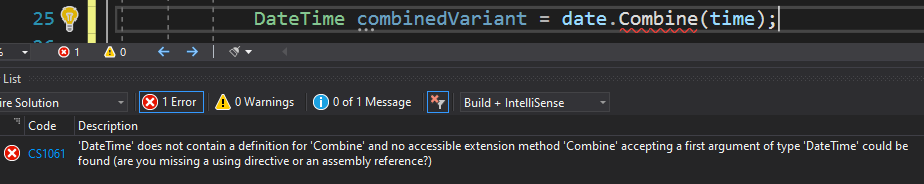 Missing Combine method on DateTime type