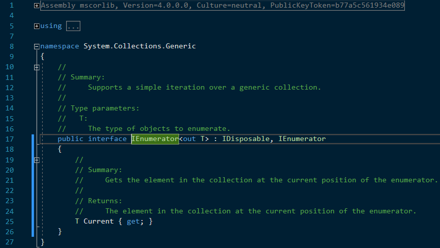 C# generic version of IEnumerator