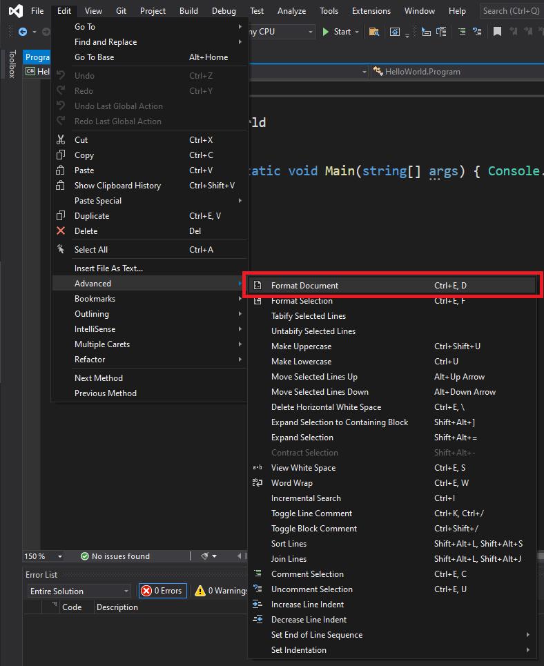 مستندات التنسيق التلقائي لبرنامج Visual Studio