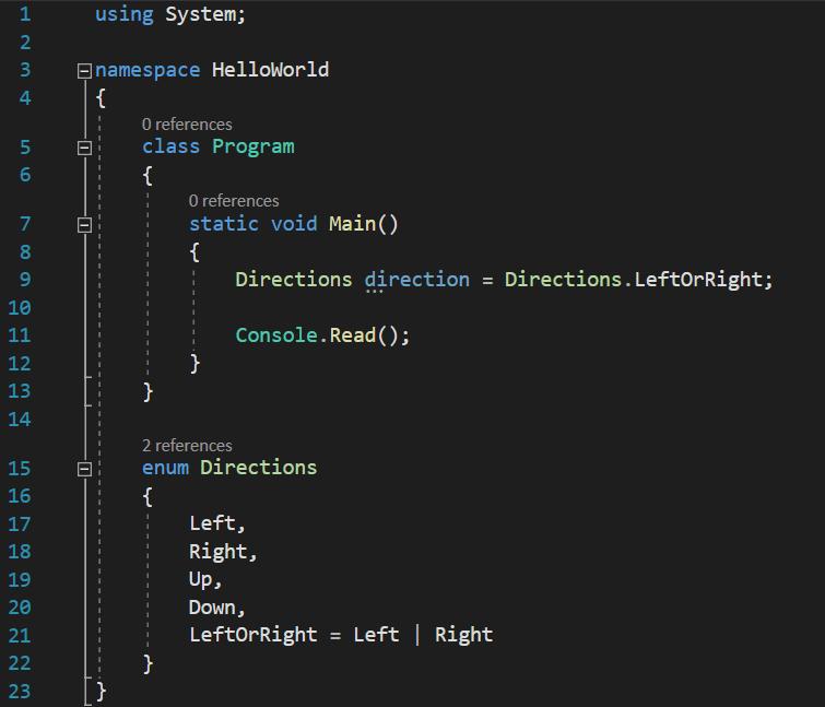 C# enum or bit operator