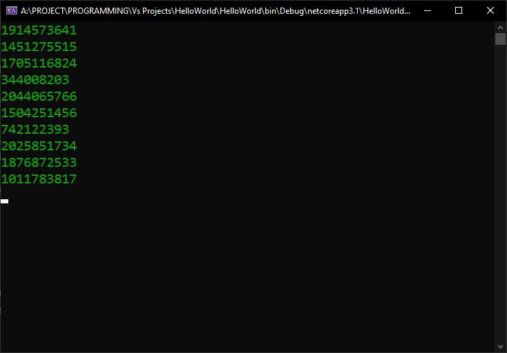 C# generating random numbers