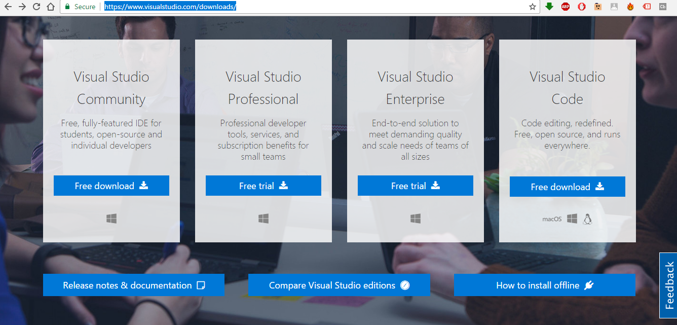 visual studio download page